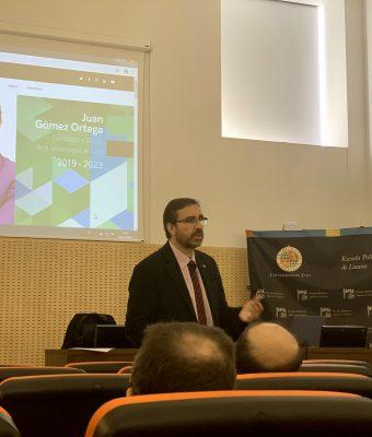 Juan Gómez Ortega ha presentado su candidatura al Rectorado de la Universidad de Jaén en el Campus Científico Tecnológico de Linares